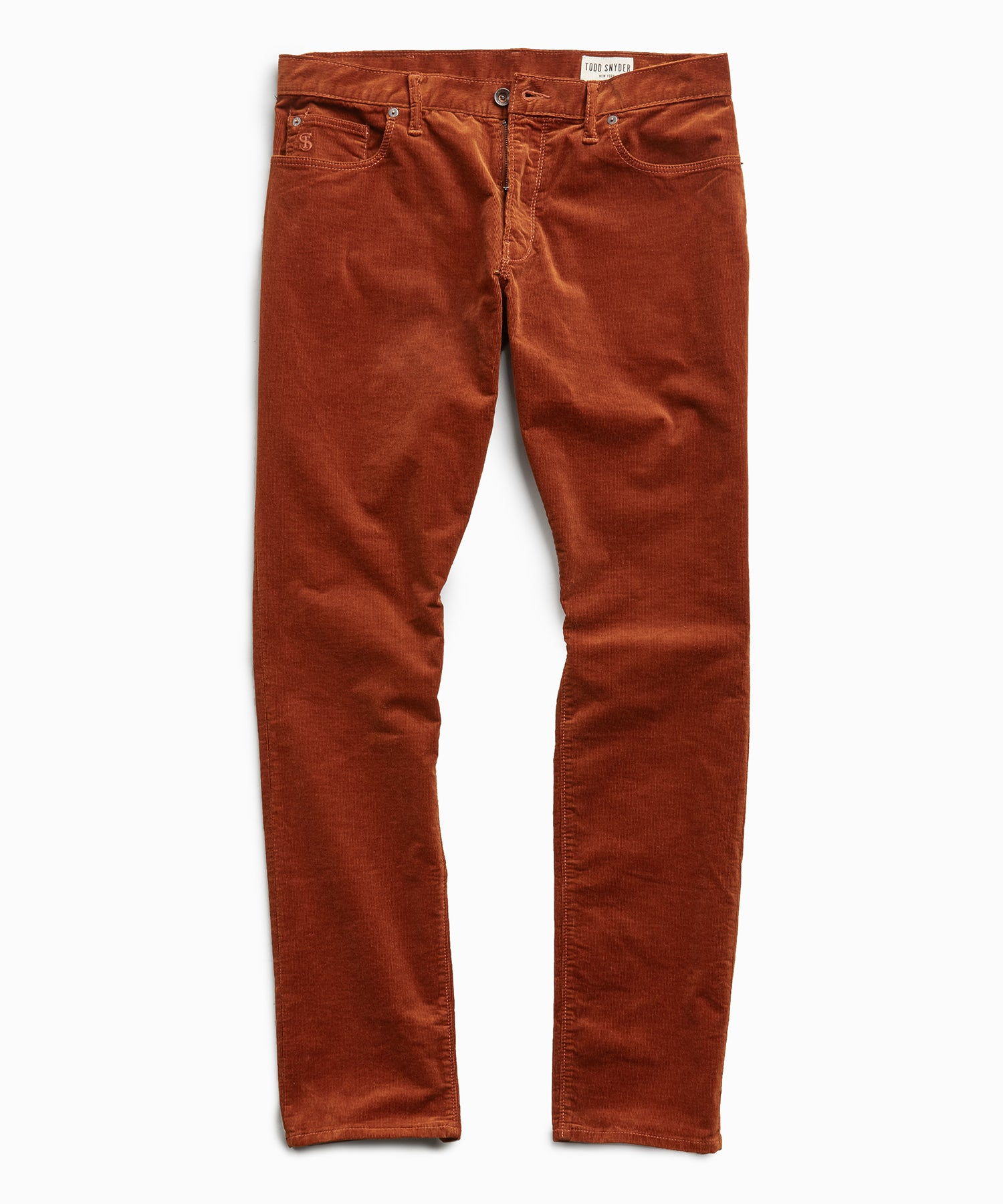 Slim Fit 5-Pocket Italian Stretch Cord in Copper