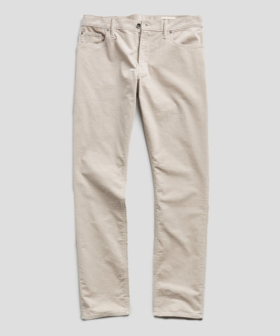 Slim Fit 5-Pocket Italian Stretch Cord in Stone