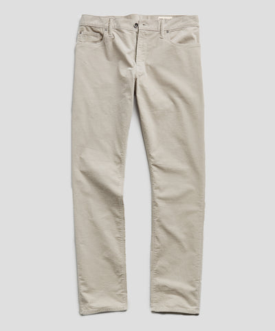 Slim Fit 5-Pocket Stretch Italian Cord in Off White