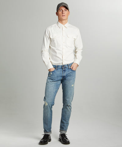 Slim Fit Japanese Selvedge Jean in New Distressed Wash