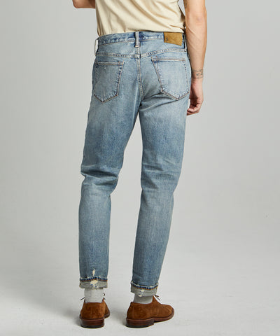 Straight Fit Japanese Stretch Selvedge Jean in Destroyed Medium Indigo