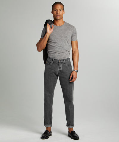 Straight Fit Japanese Selvedge Jean in Concrete Wash