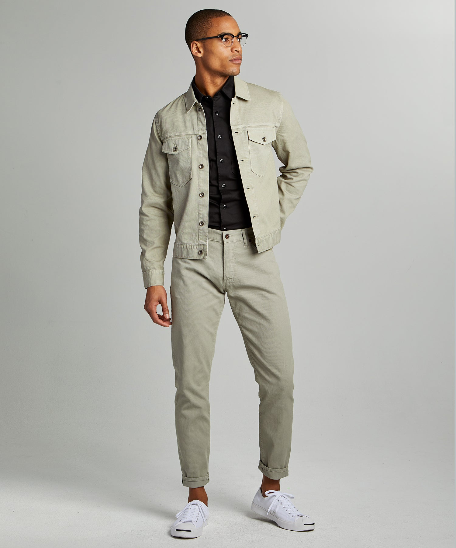 Slim 5-Pocket Bedford Cord Pant in Cactus