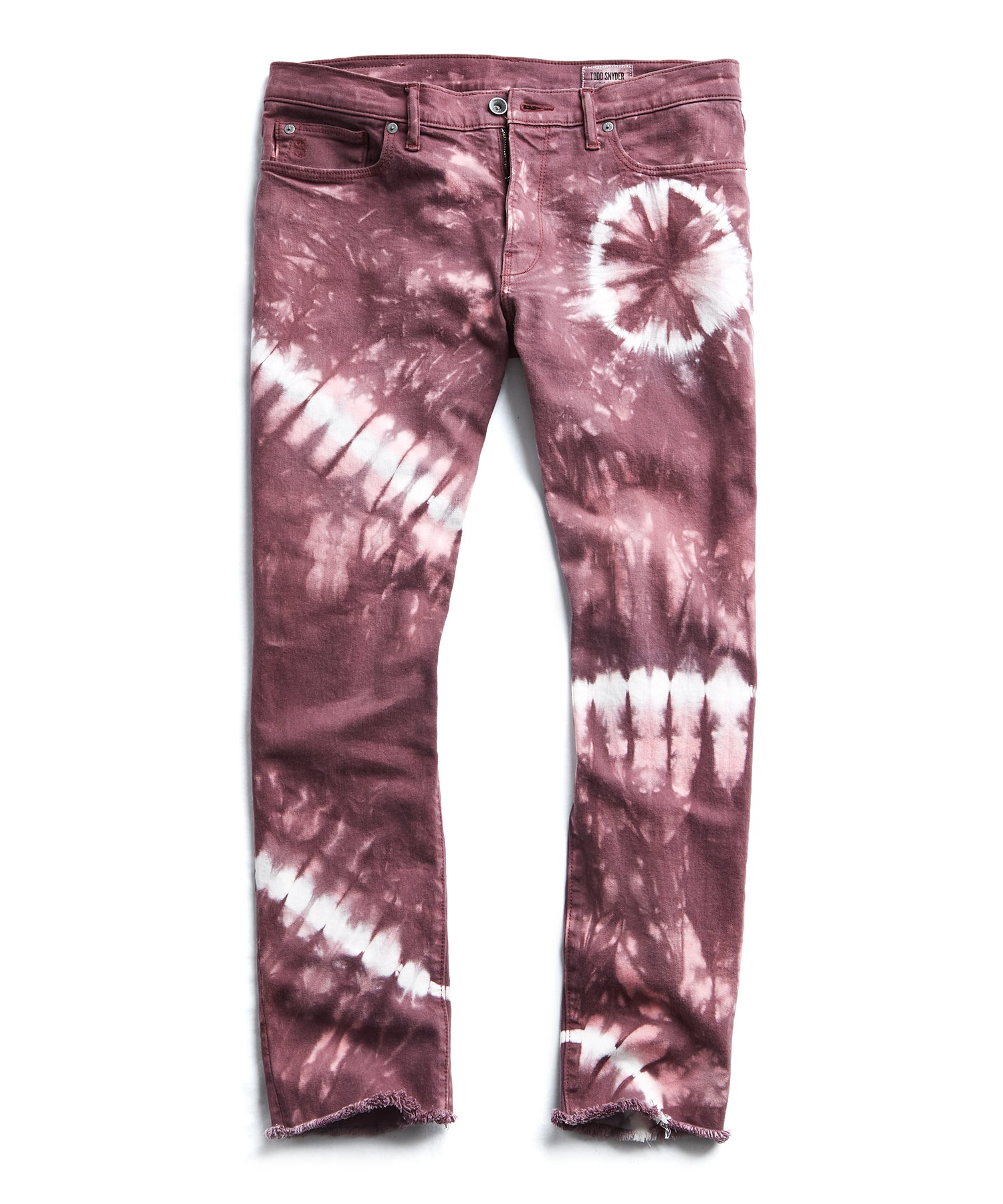 Cut Off Tie Dye Denim in Burgundy