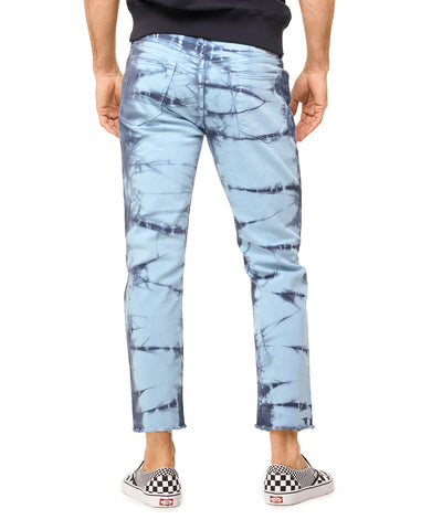 Cut Off Tie Dye Denim in Blue