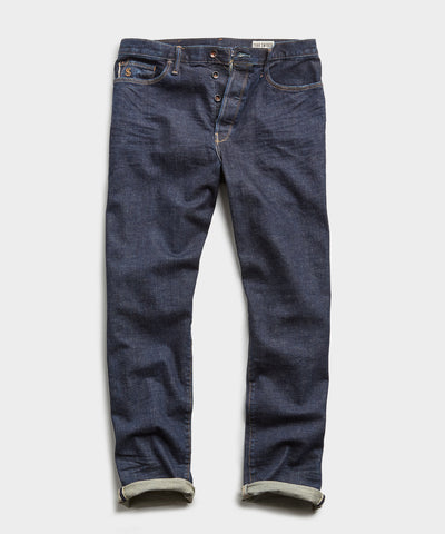 Straight Fit Japanese Stretch Selvedge Jean In Indigo Rinse