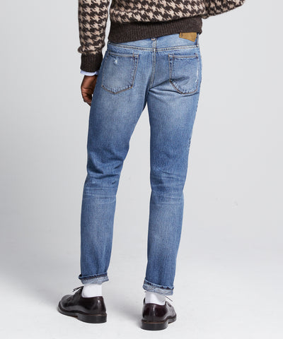 Slim Fit Selvedge Destroyed and Repaired Denim Jean