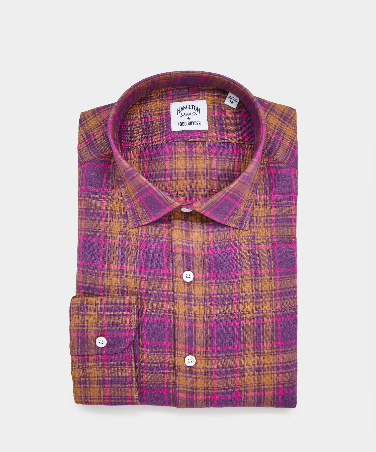 Made in USA Hamilton + Todd Snyder Purple Madras Dress Shirt