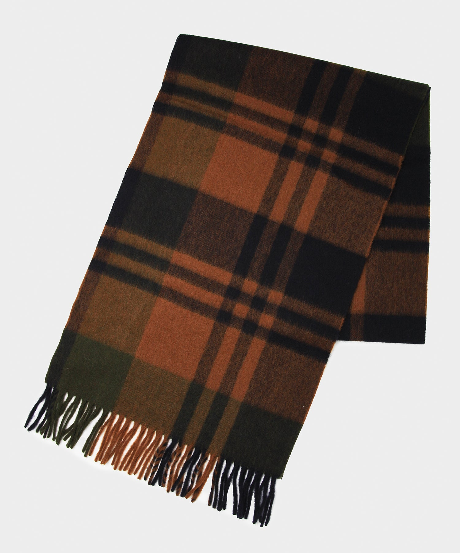 Joshua Ellis Brown Navy Check Scarf In Brown