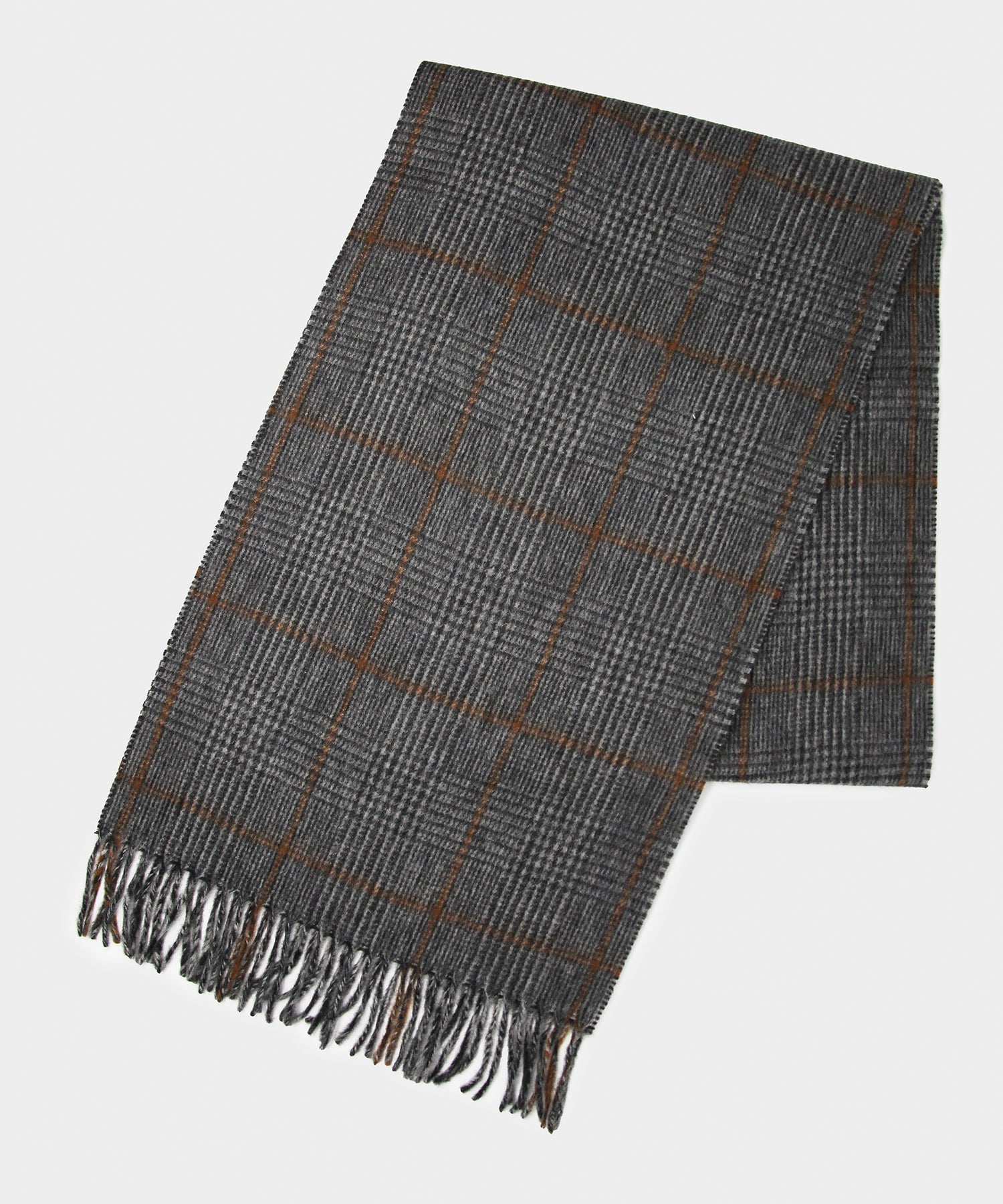 Joshua Ellis Orange Glen Plaid Scarf In Grey