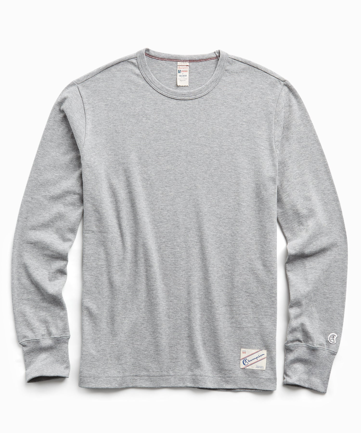 Heavy Weight Long Sleeve Jock Tag Tee in Grey Mix