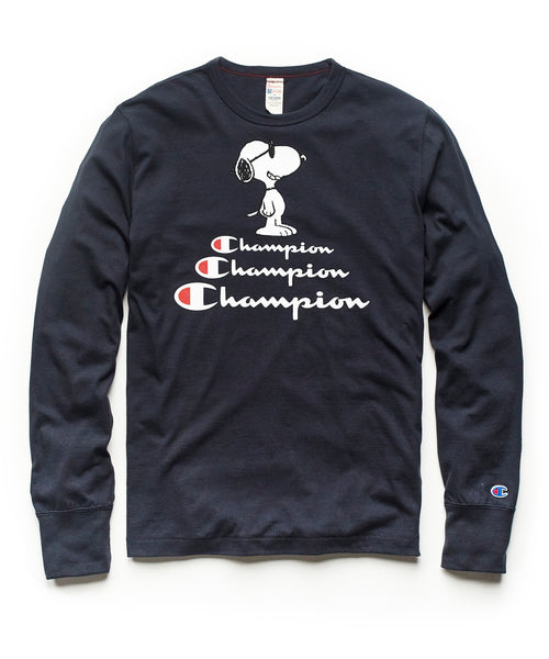 Champion X Peanuts Snoopy Long Sleeve Tee in Navy