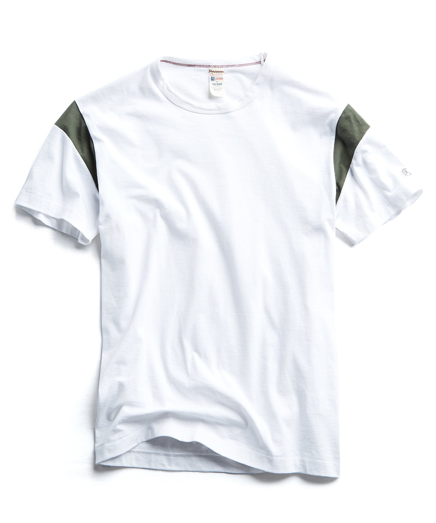 Armhole T-Shirt in Olive/White