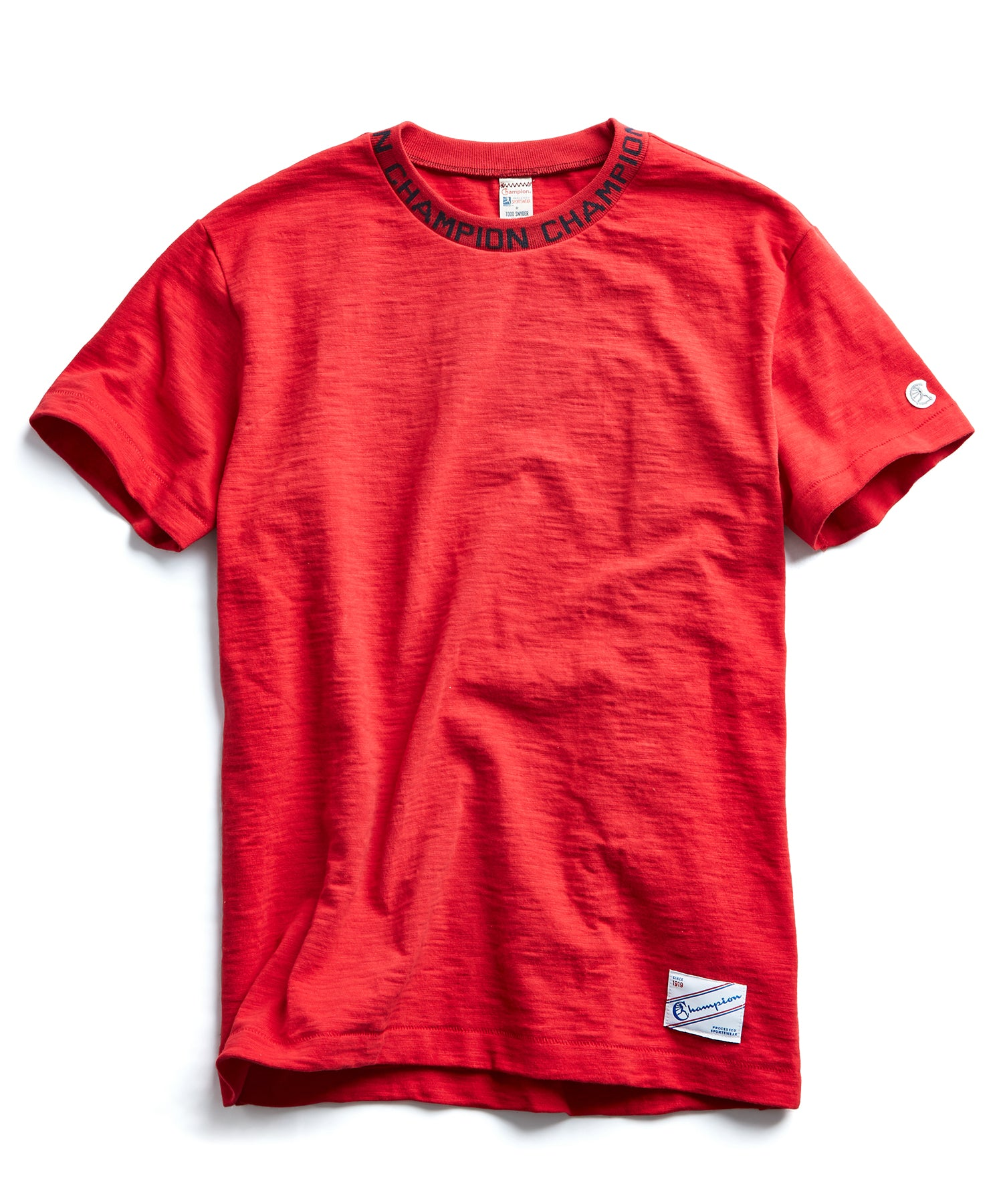 Champion Logo Rib T-Shirt in Red