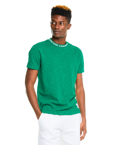Champion Logo Rib T-Shirt in Green