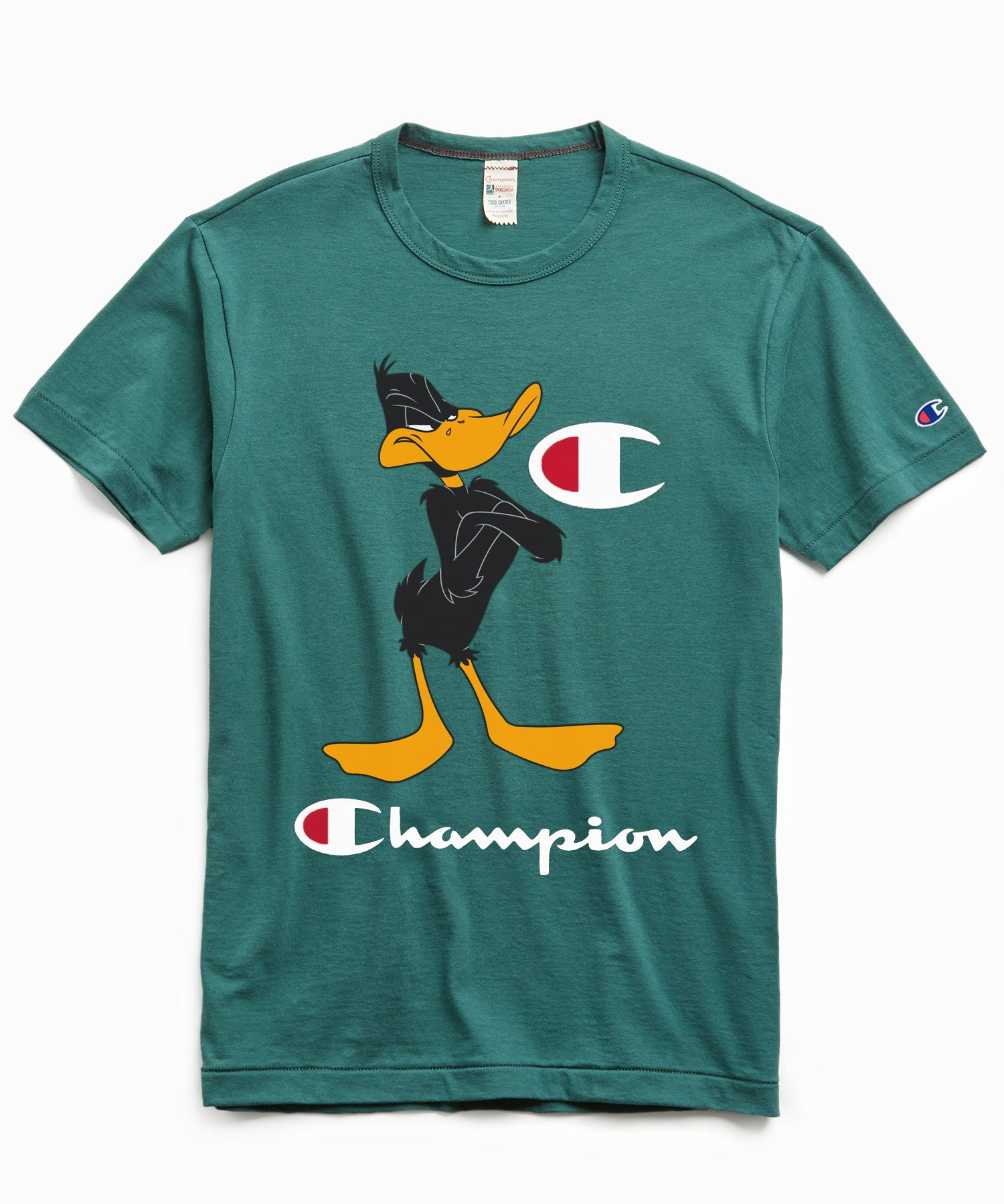 Champion + Looney Tunes Daffy Duck Tee in Storm Green