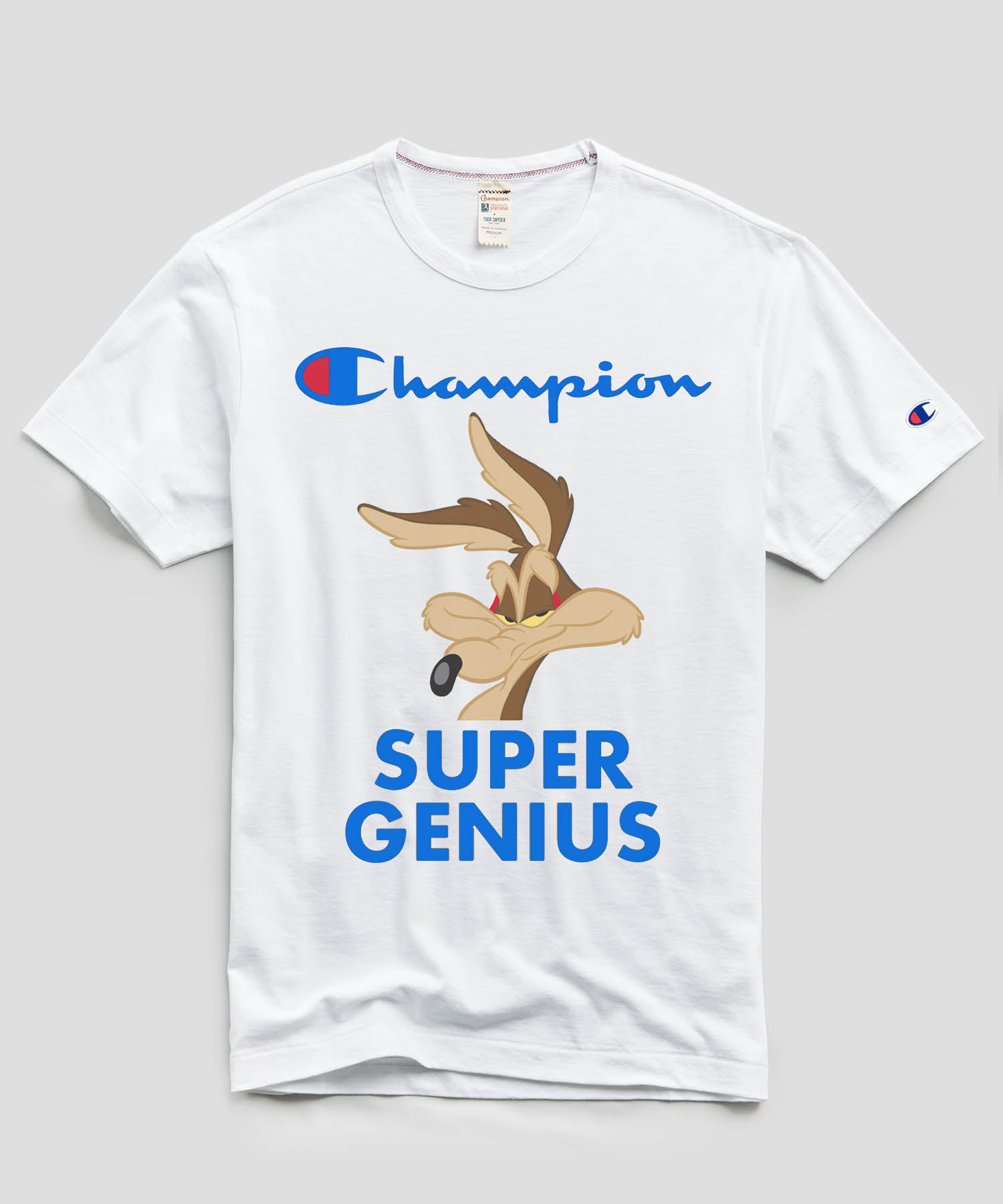 Champion + Looney Tunes Super Genius Wile E Coyote Tee in White