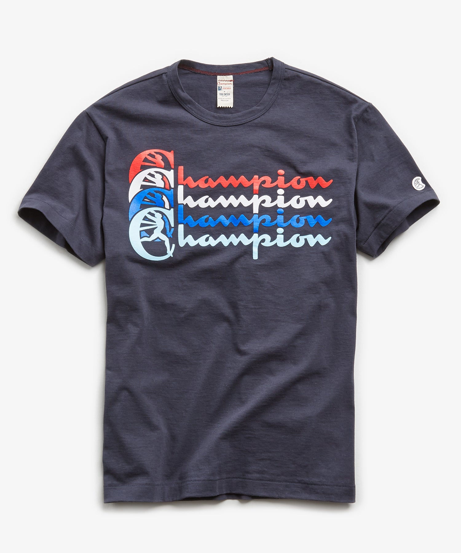 Stacked Champion T-Shirt in Navy