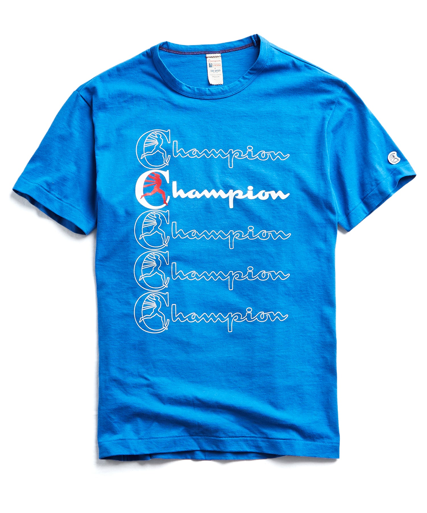 Champion Stacked Graphic tee in Regent Blue