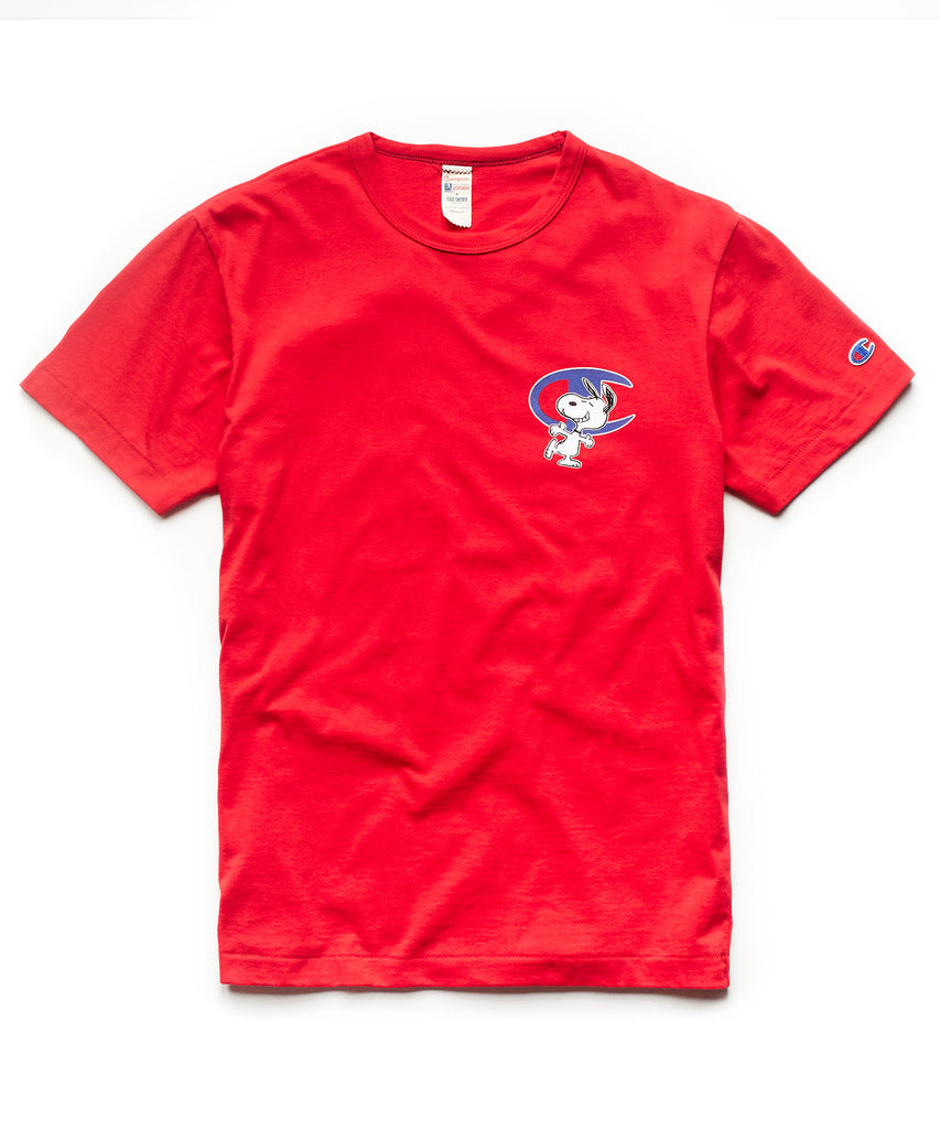 Champion X Peanuts Short Sleeve Snoopy C Graphic T-Shirt in Red f1fa788494a1