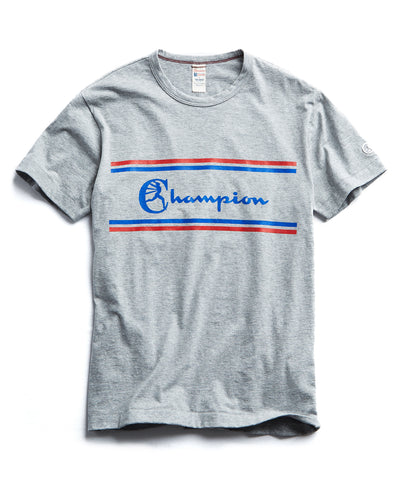 Champion Chest Graphic T-Shirt in Light Grey Mix