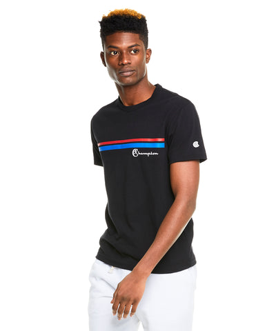 Champion Double Stripe Graphic T-Shirt in Black