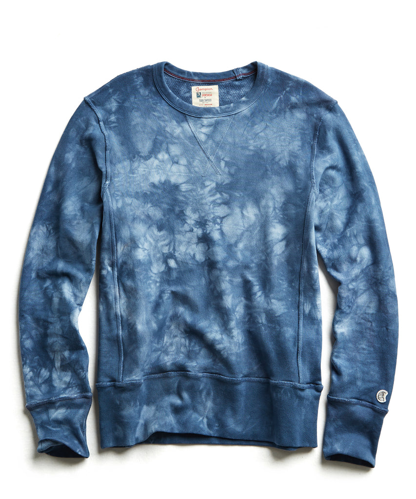 Champion Tie Dye Sweatshirt in Blue Grotto