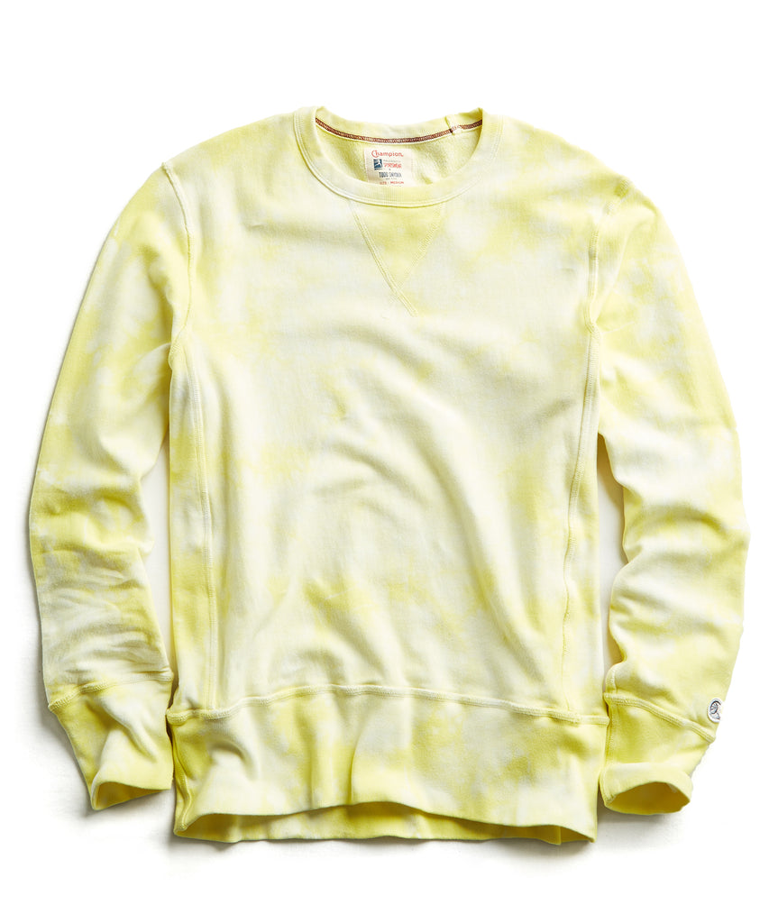 Champion Tie Dye Sweatshirt in Fresh Lemon