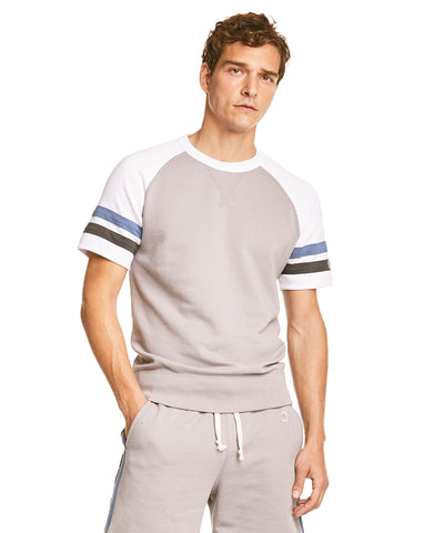 Stripe Raglan Short Sleeve Sweatshirt in Grey