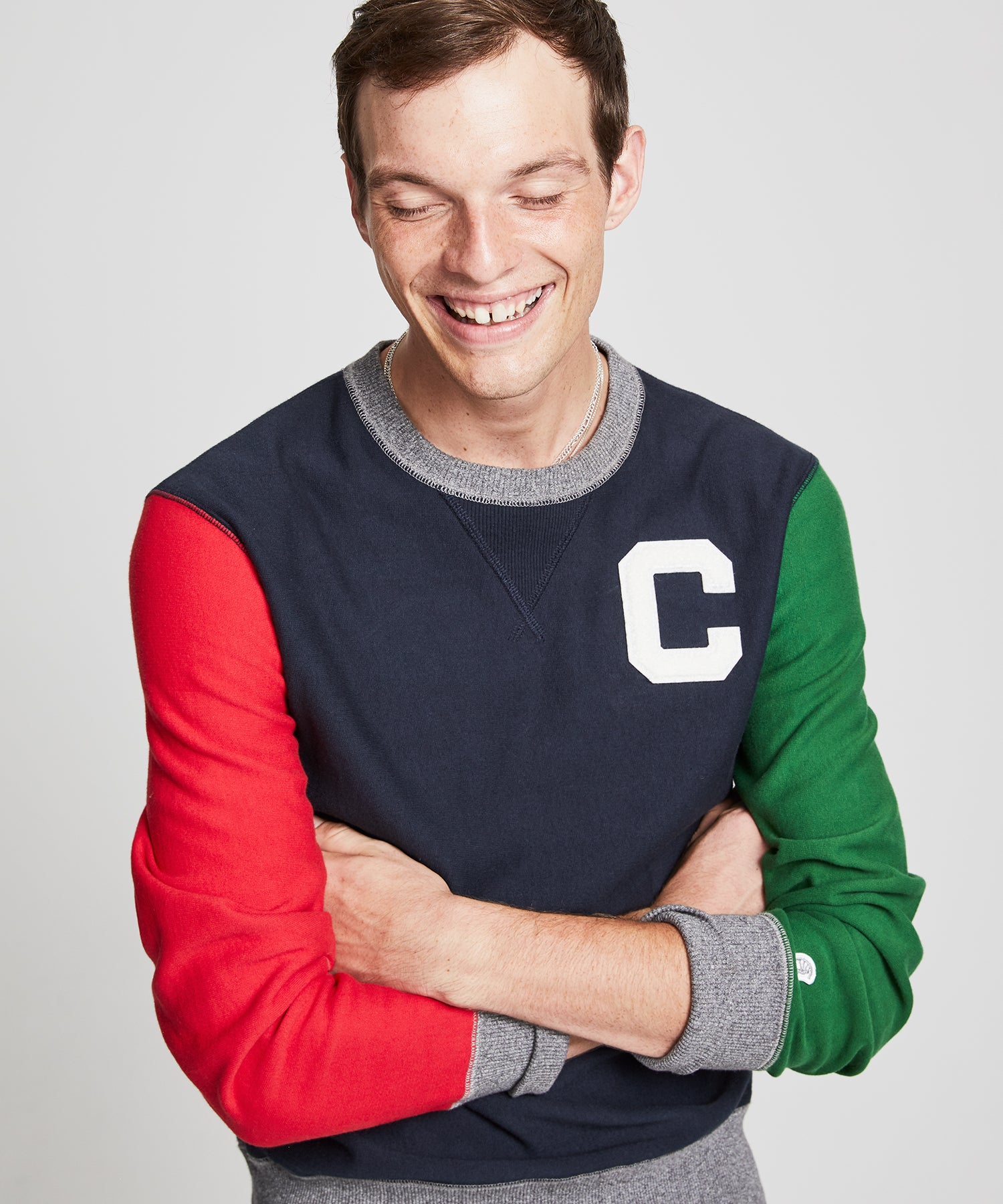Terry Color Block Sweatshirt in Navy