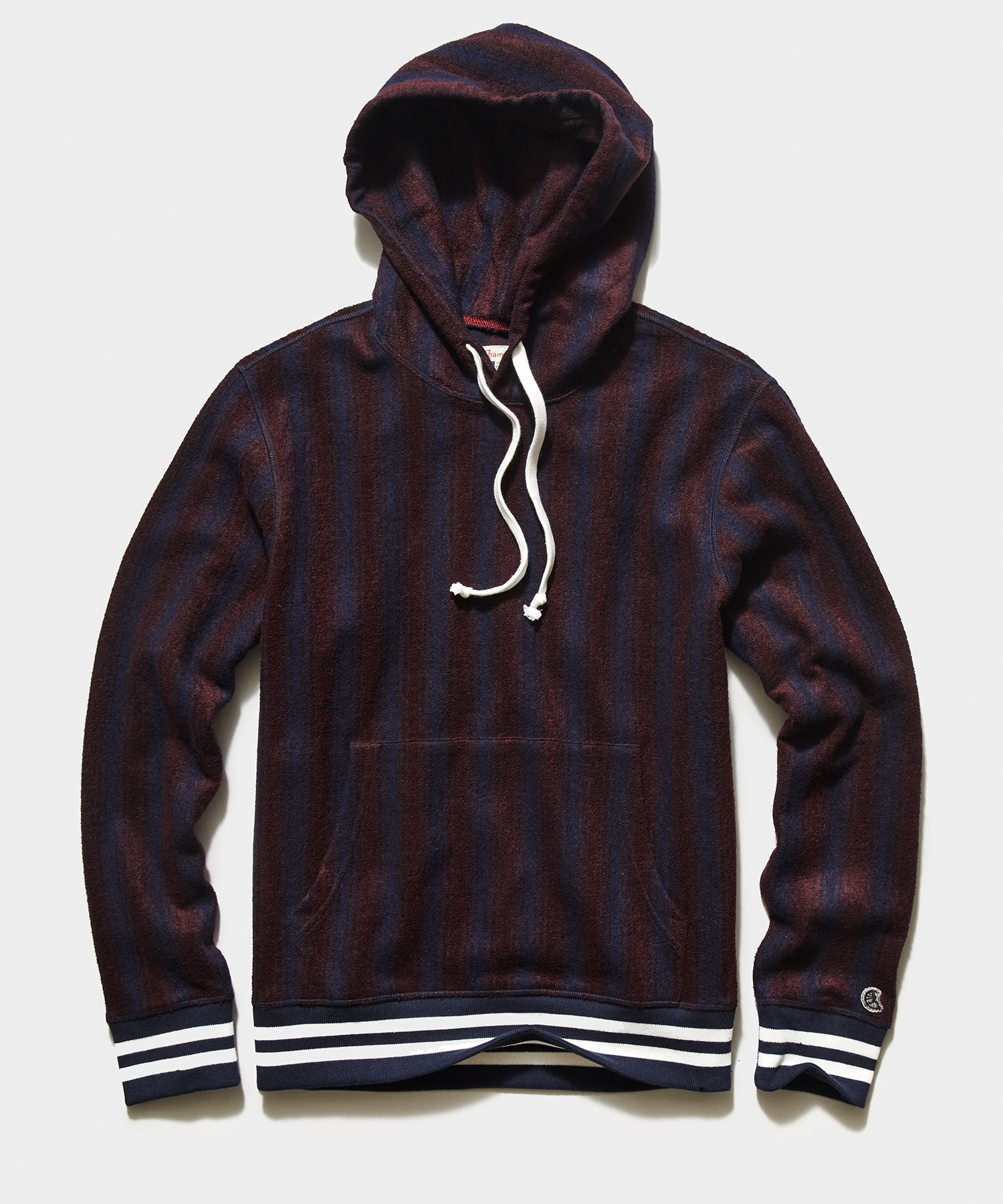 Champion Wool Burgundy Vertical Striped Hoodie