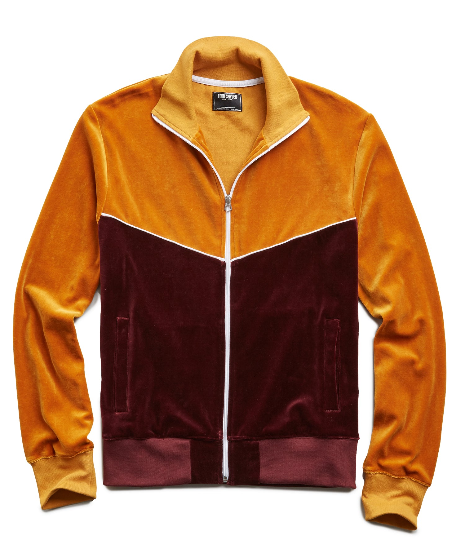 Velour Track Jacket in Mustard