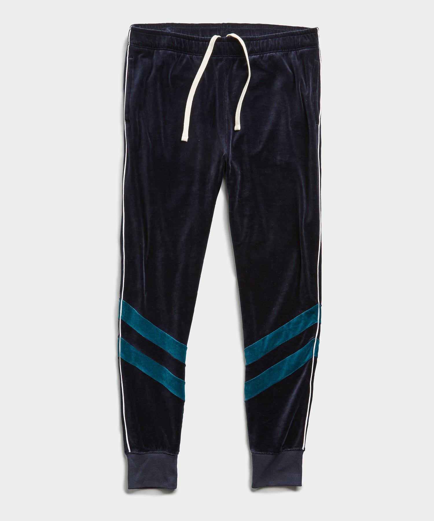 Velour Track Pant in Navy