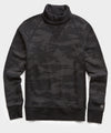 Lightweight Camo Slim Fit Turtleneck in Black