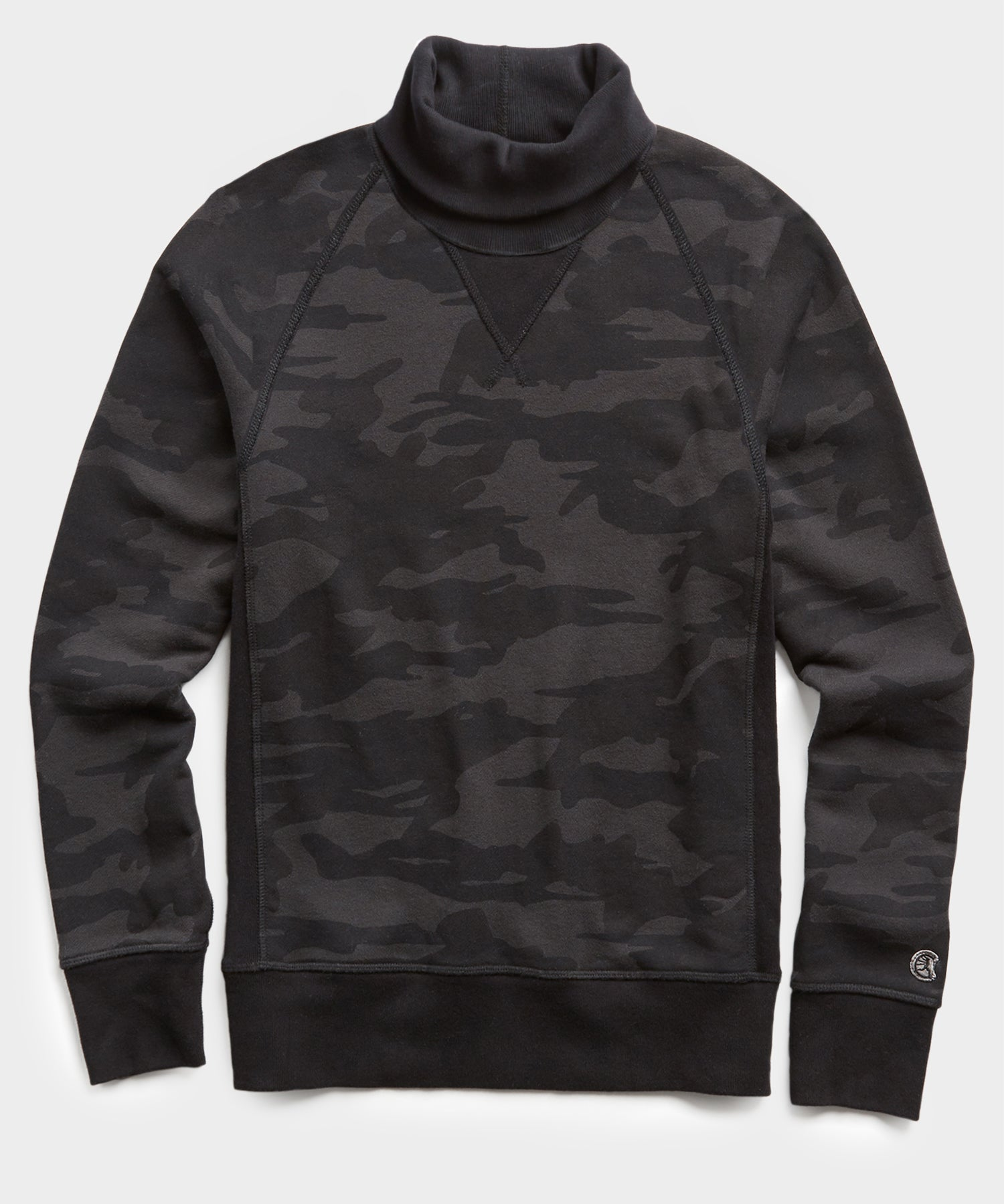 Terry Camo Slim Fit Turtleneck in Black