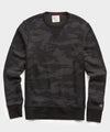 Terry Camo Slim Fit Crewneck Sweatshirt in Black