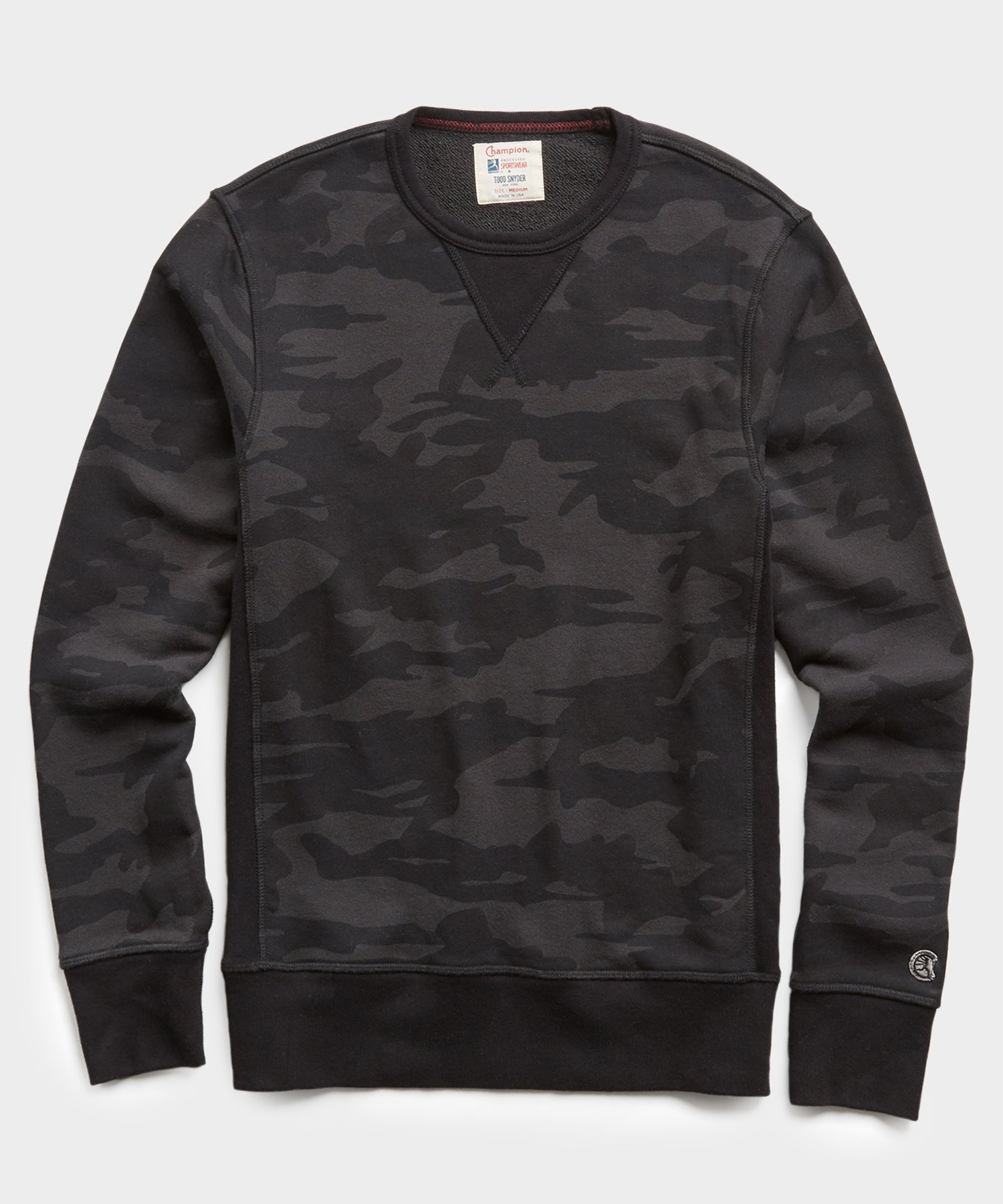 Camo Slim Fit Crewneck Sweatshirt in Black