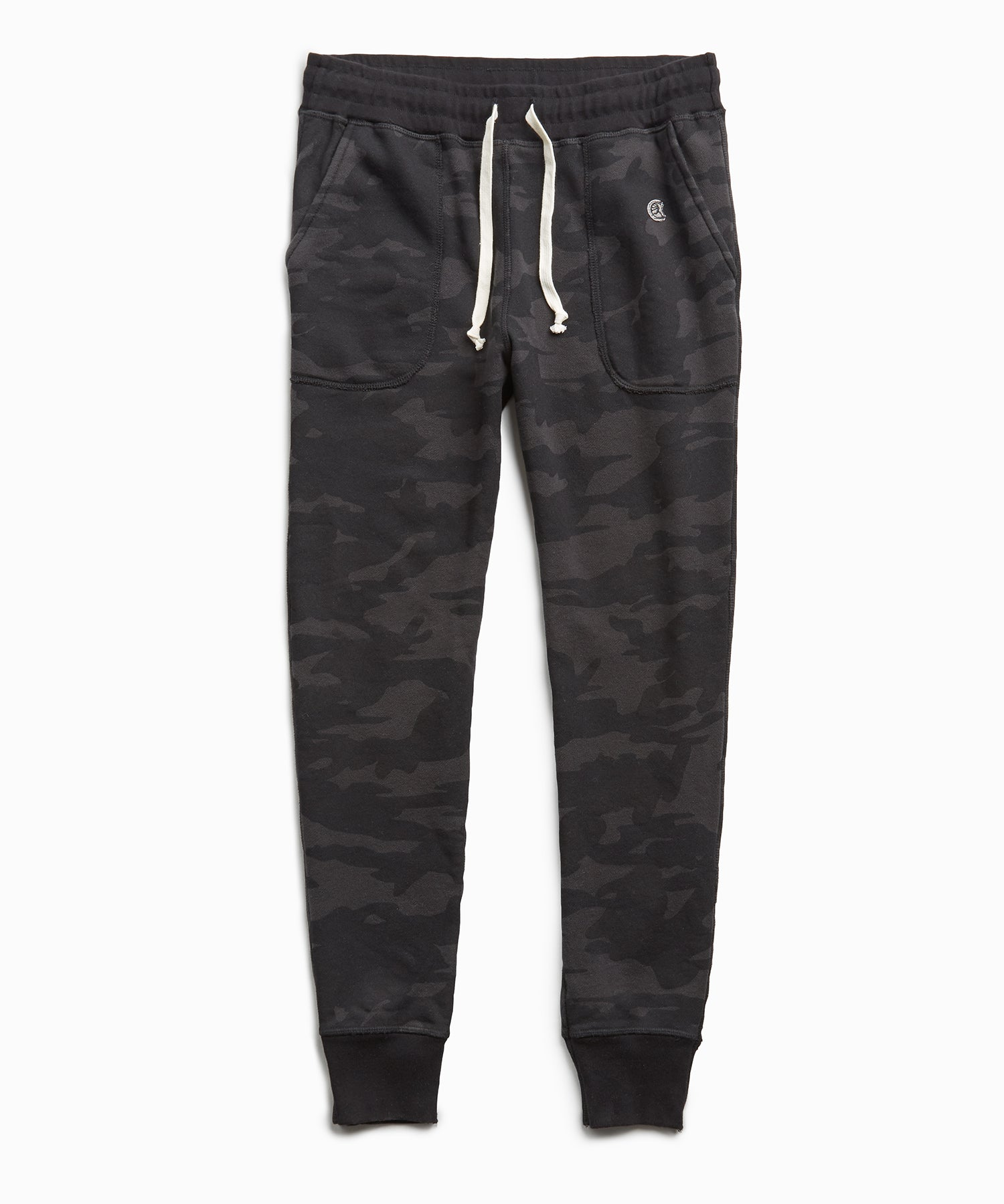 Terry Camo Slim Jogger in Black