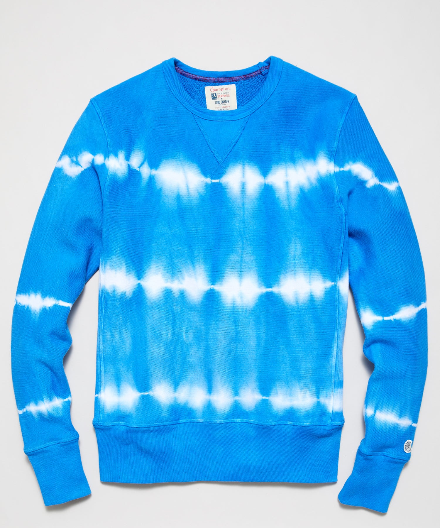 Neon Tie Dye Reverse Weave Crewneck in Electric Blue