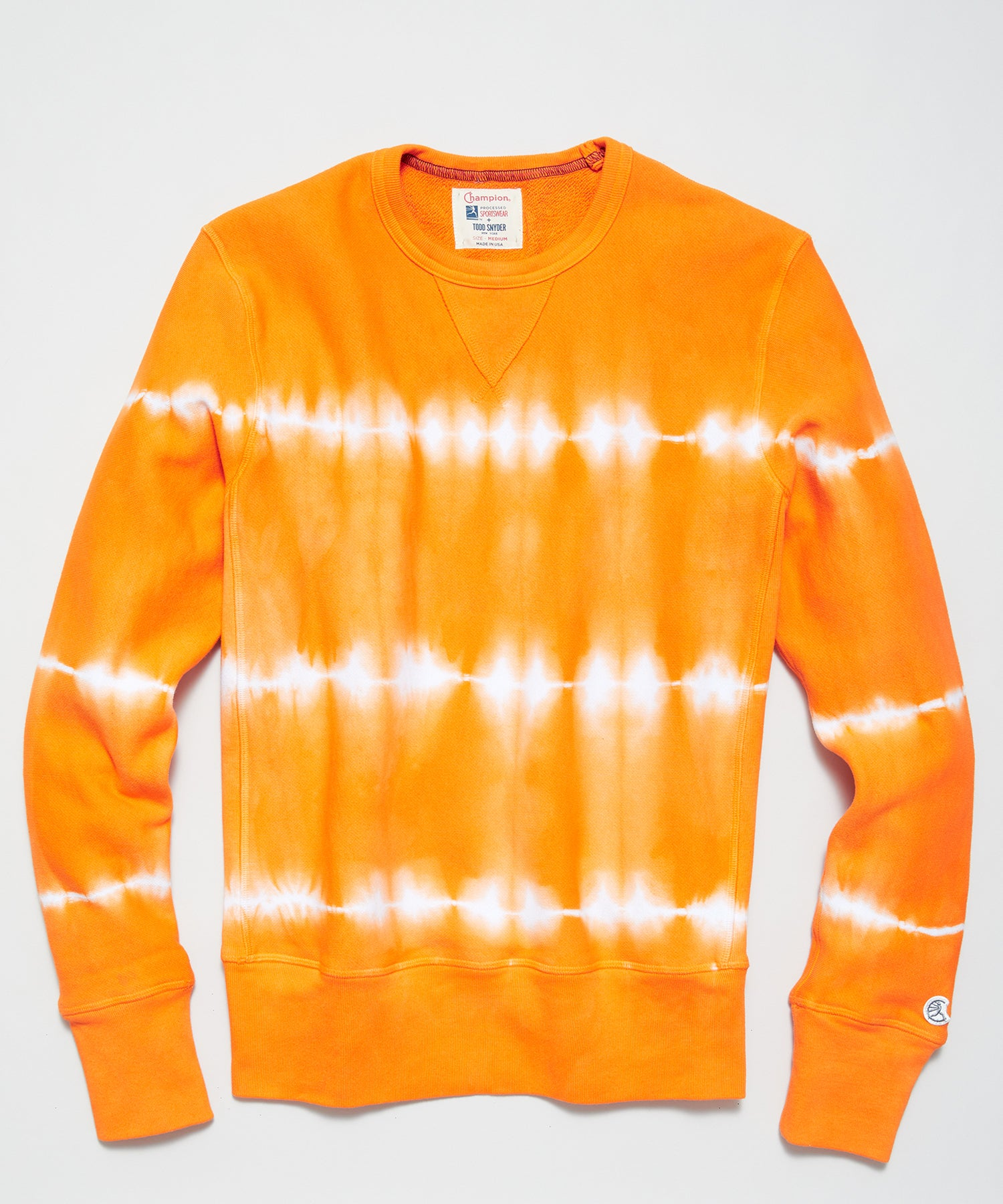 Neon Tie Dye Reverse Weave Crewneck in Orange