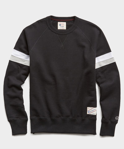 Double Stripe Raglan Sweatshirt in Black