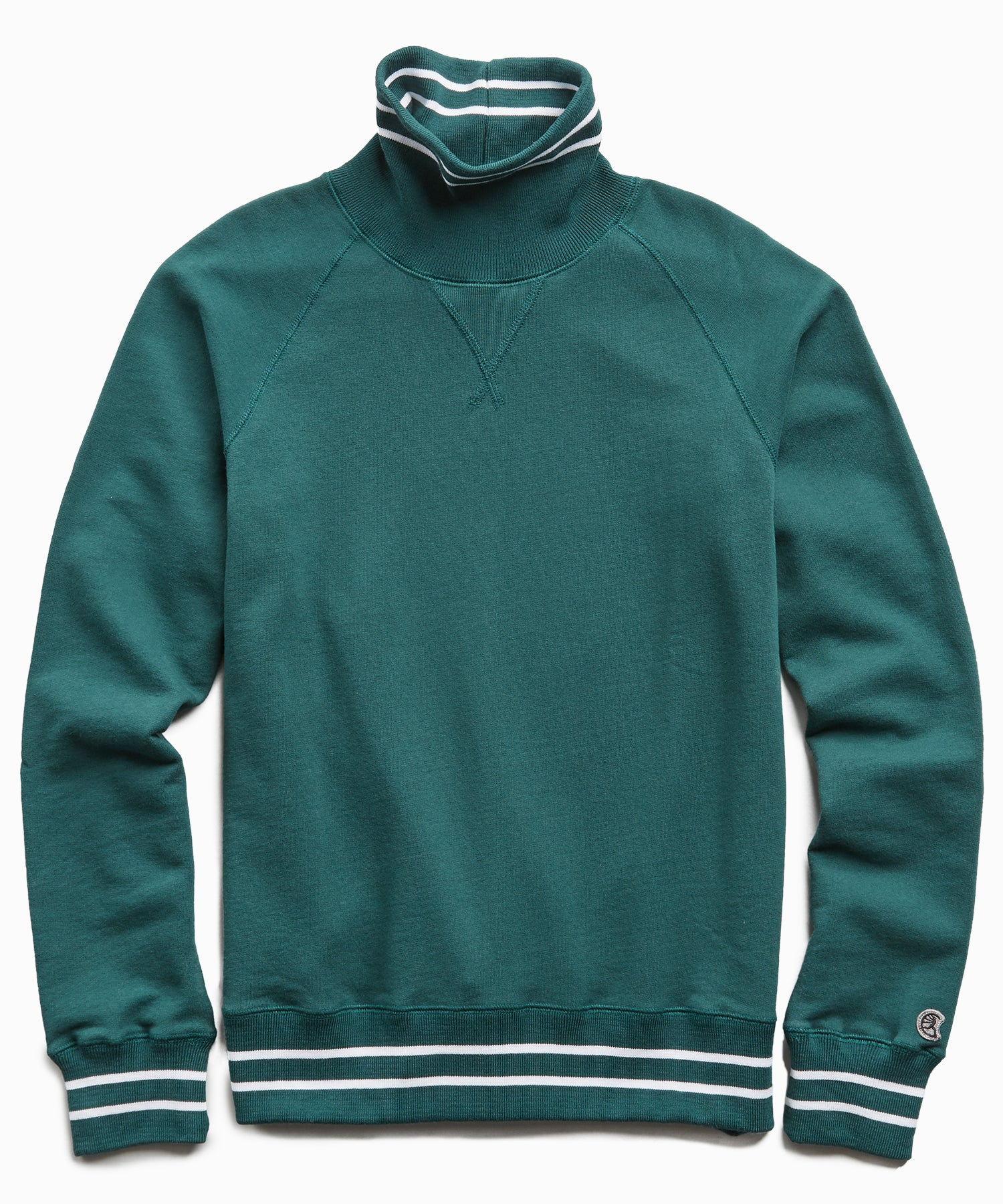 Tipped Turtleneck Sweatshirt in Storm Green