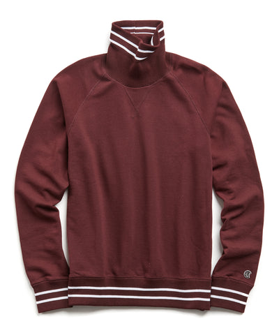 Tipped Turtleneck Sweatshirt in Deep Burgundy