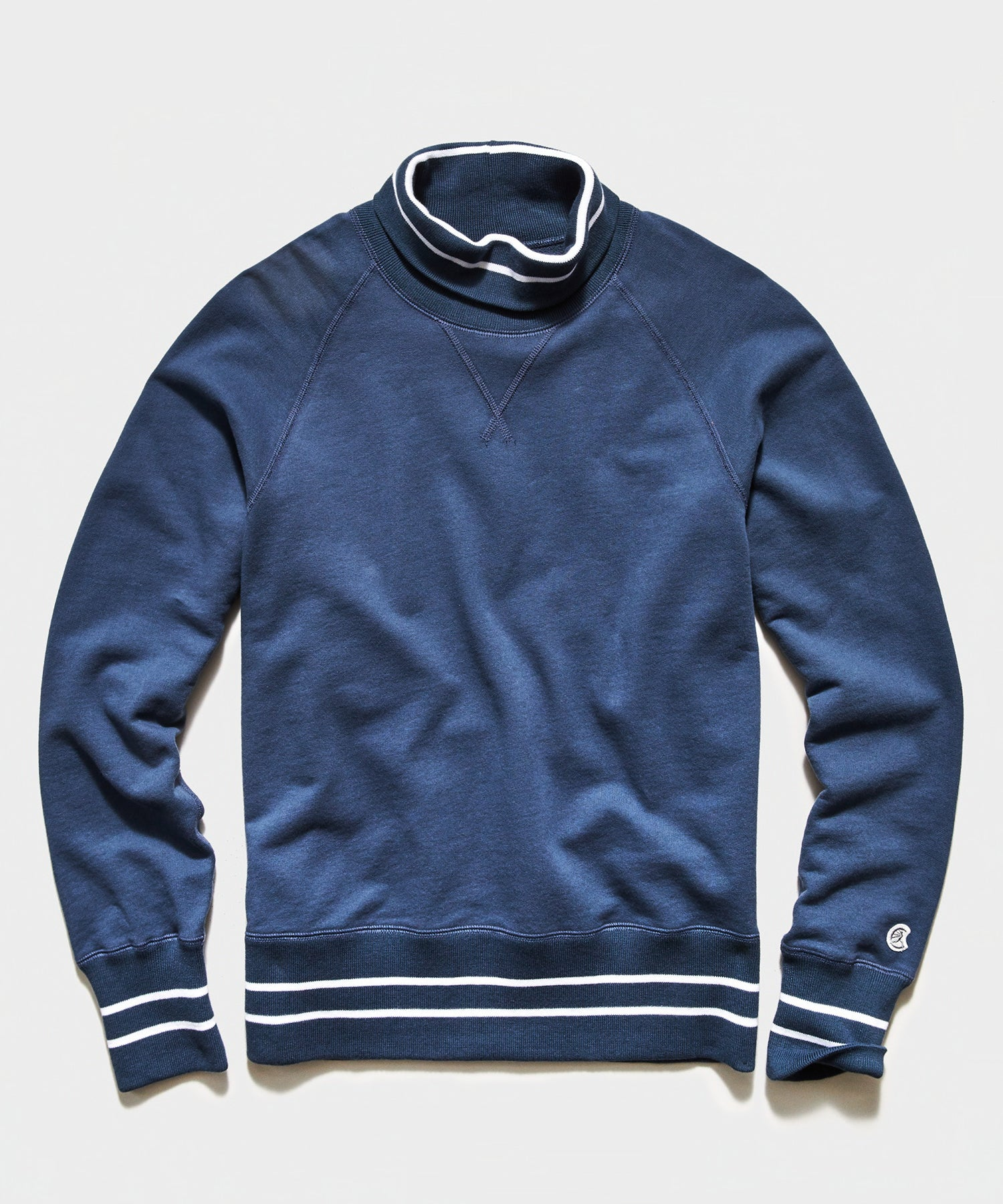 Tipped Turtleneck Sweatshirt in Hale Navy