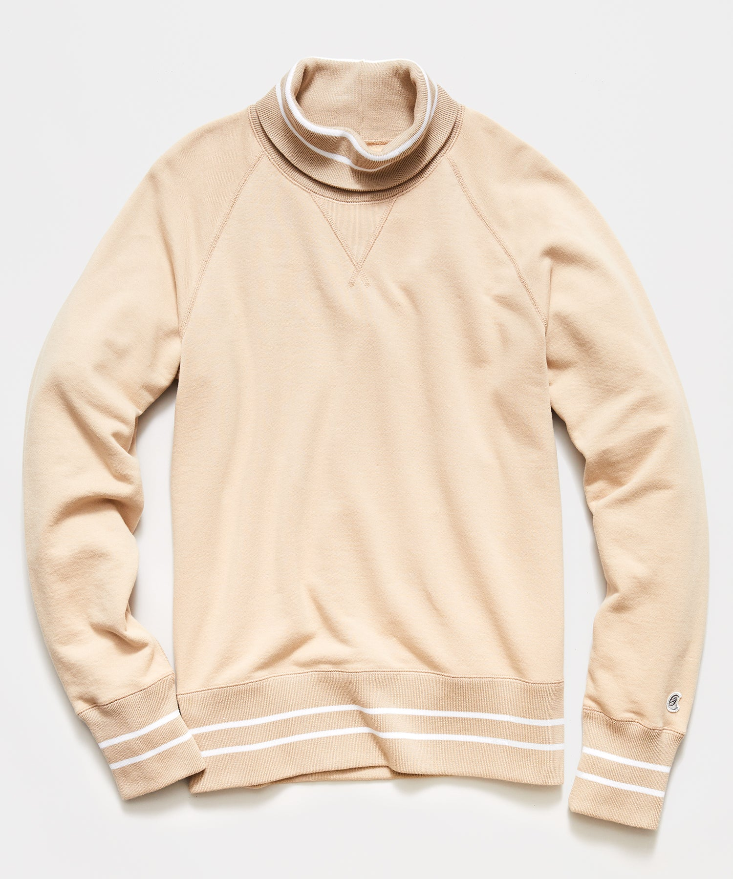 Tipped Turtleneck Sweatshirt in Sand
