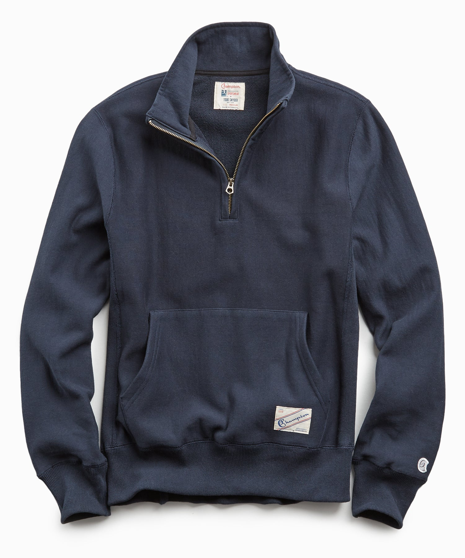 Terry Quarter Zip Reverse Weave Sweatshirt in Navy