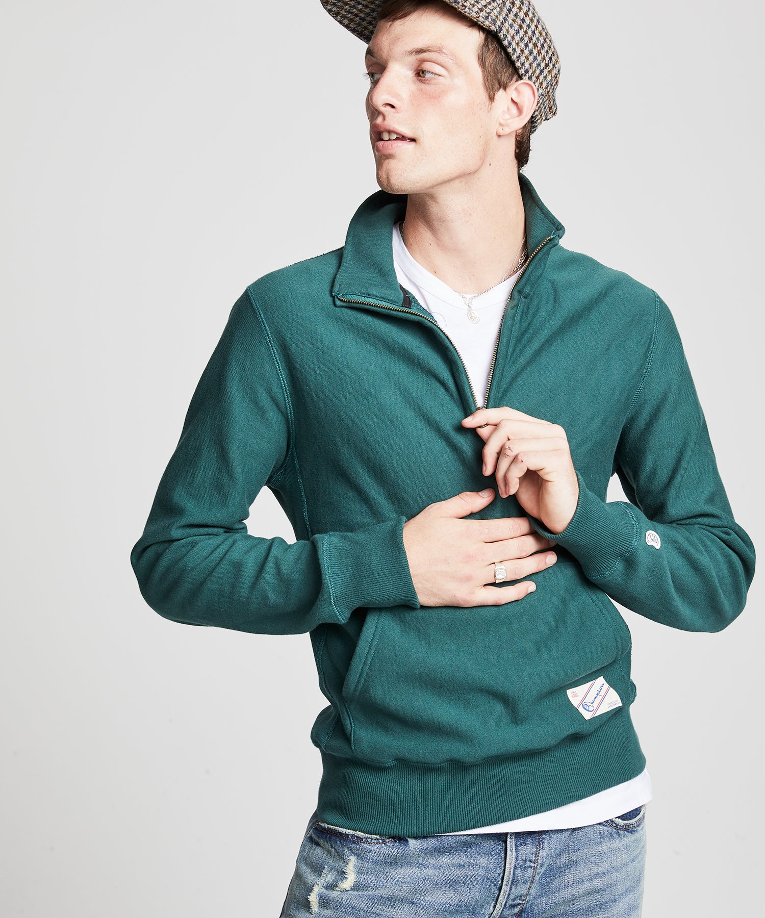 Quarter Zip Reverse Weave Sweatshirt in Storm Green