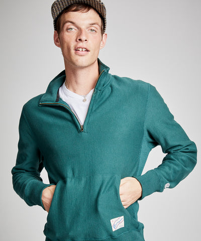 Terry Quarter Zip Reverse Weave Sweatshirt in Storm Green