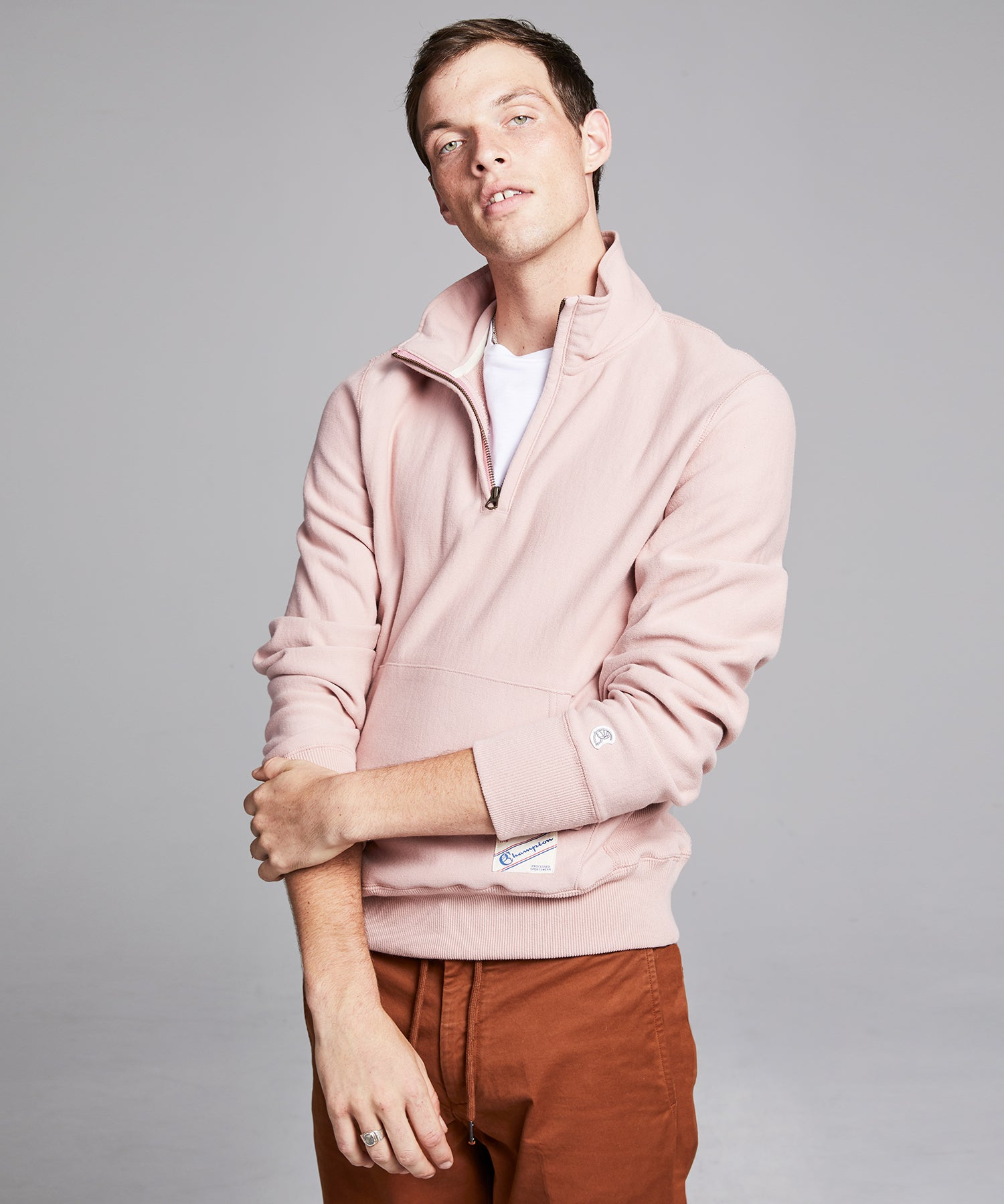 Terry Quarter Zip Reverse Weave Sweatshirt in Desert Rose