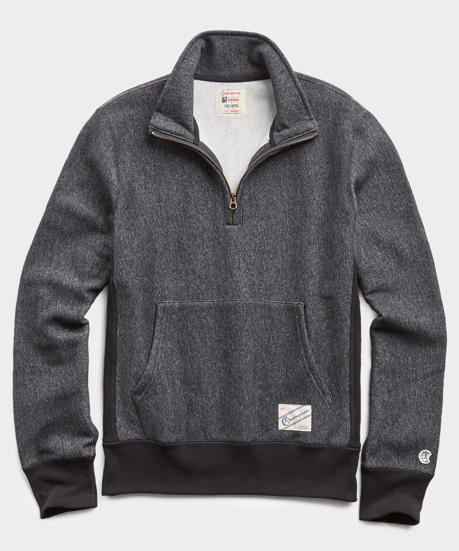 Heavyweight Quarter Zip Sweatshirt in Black Pepper Charcoal